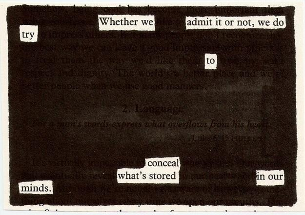 Blackout newspaper poem by Austin Kleon.