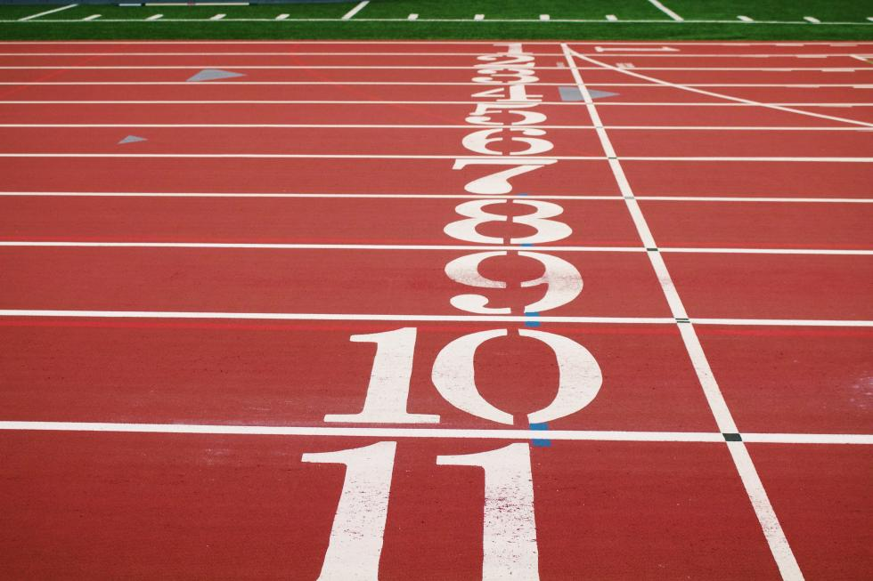 The finish line on a 400-meter track.
