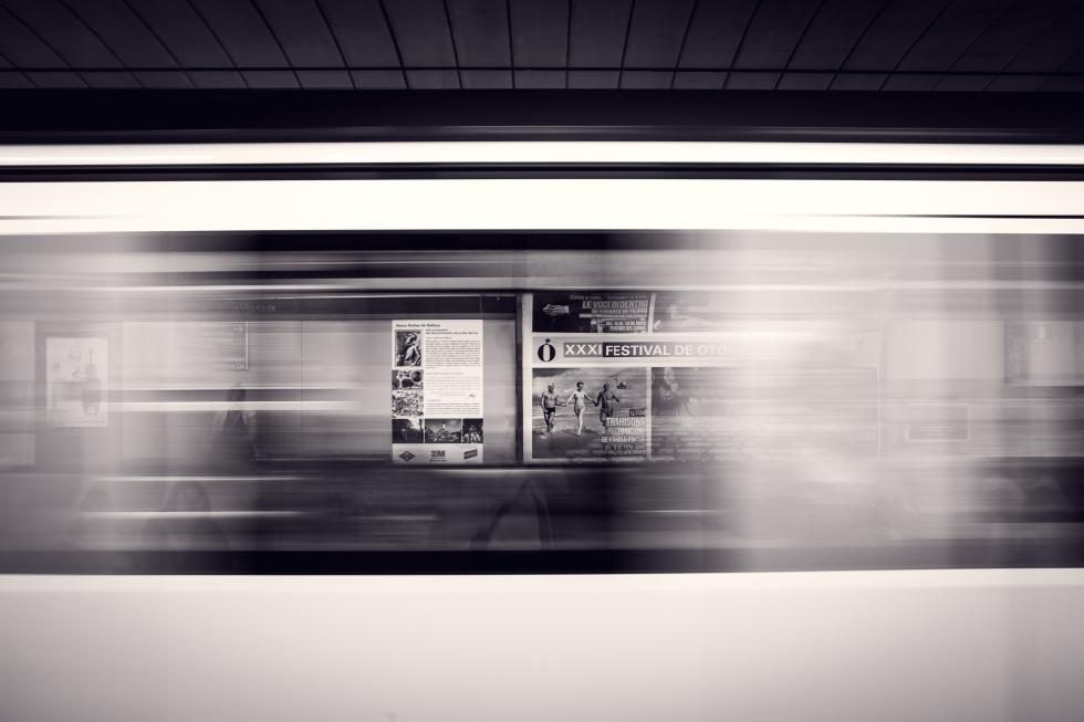 The blur of a subway train.
