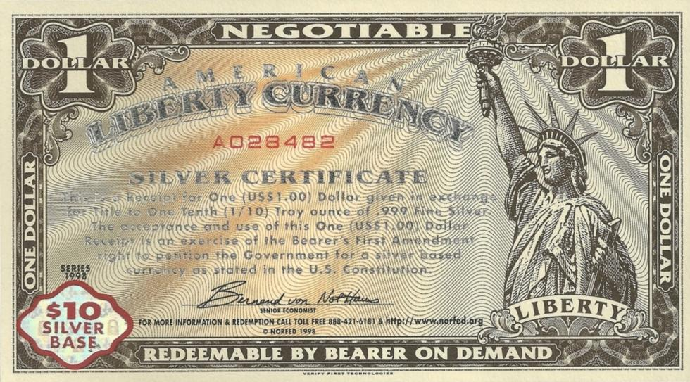 American Liberty Dollar Certificate